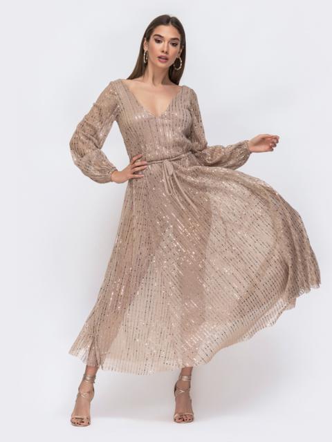 Платье из люрекса с пайетками и вырезом по спинке бежевое - 43003, фото 1 – интернет-магазин Dressa