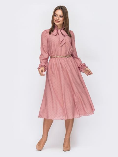 Розовое платье из шифона с подкладкой и воротником-аскот 52363, фото 1