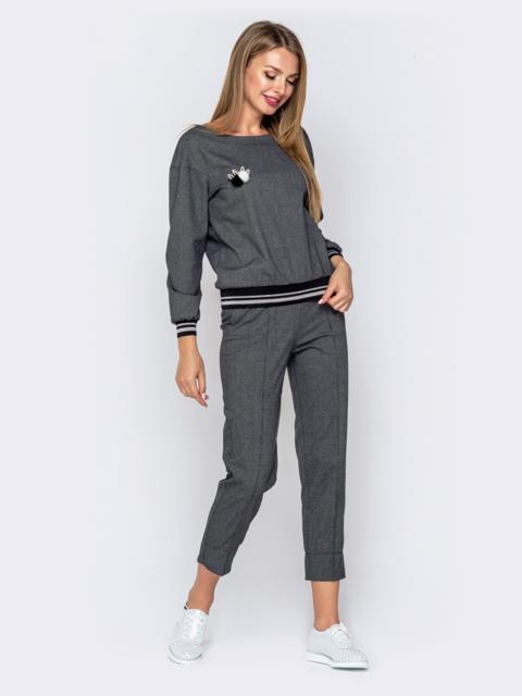 Серый комплект из укороченных брюк и кофты - 40866, фото 1 – интернет-магазин Dressa