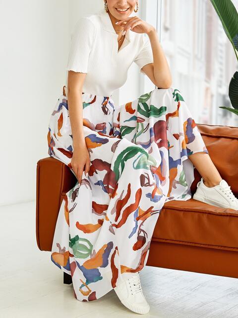 Шифоновая юбка-макси с абстрактным принтом белая 53997, фото 1