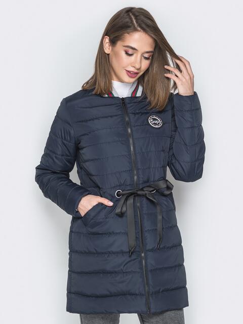 Удлиненная куртка-бомбер с кулиской на талии синяя - 20249, фото 1 – интернет-магазин Dressa