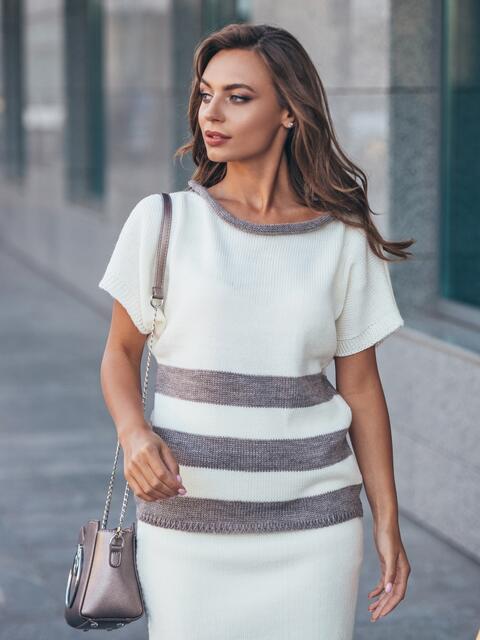 Вязаный свитер белого цвета с бежевыми полосами - 17116, фото 1 – интернет-магазин Dressa