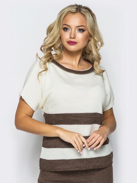 Вязаный свитер белого цвета с коричневыми полосами - 17117, фото 1 – интернет-магазин Dressa