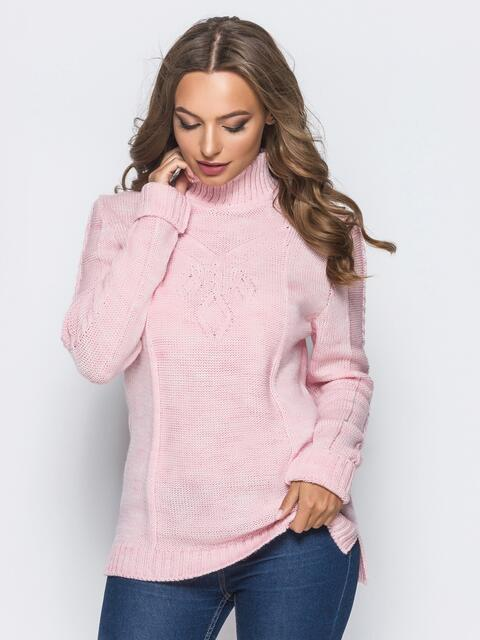 Вязаный свитер розового цвета с высоким воротником - 17084, фото 1 – интернет-магазин Dressa
