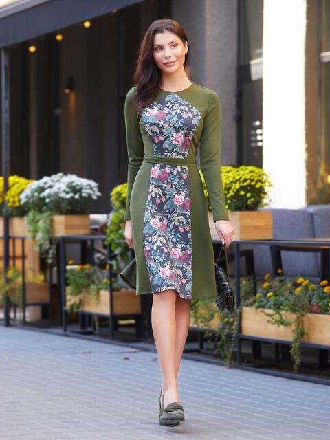 Зелёное платье с цветочным принтом на полочке - 17601, фото 1 – интернет-магазин Dressa