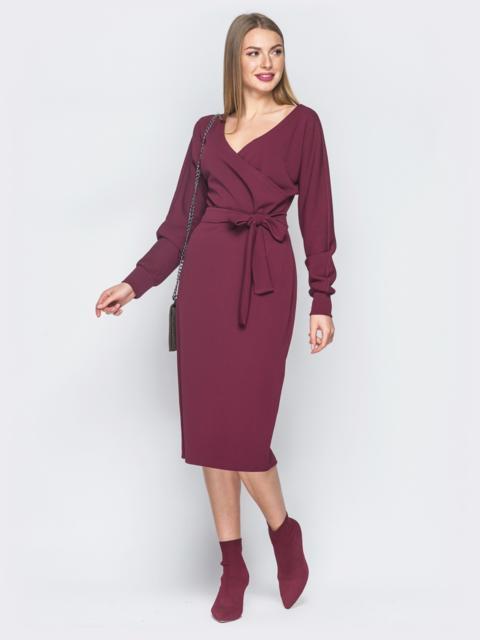 Бордовое платье с фиксированным запахом и поясом в комплекте - 18759, фото 1 – интернет-магазин Dressa