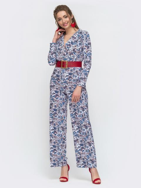 Брючный комбинезон с принтом голубой - 47049, фото 1 – интернет-магазин Dressa
