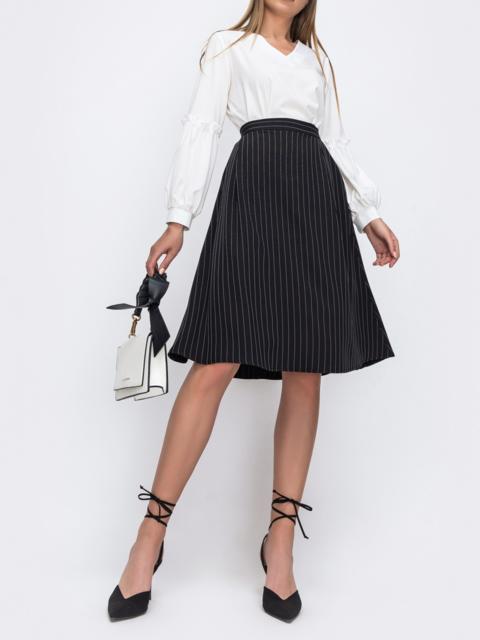 Черная юбка-трапеция в полоску 49479, фото 1