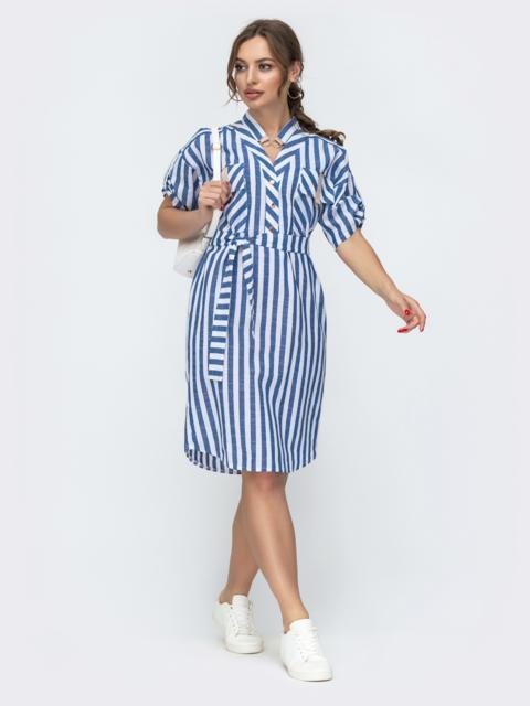 Голубое платье свободного кроя в полоску 47056, фото 1