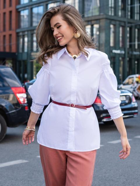 Хлопковая блузка с объемными рукавами на резинке белая 49764, фото 1