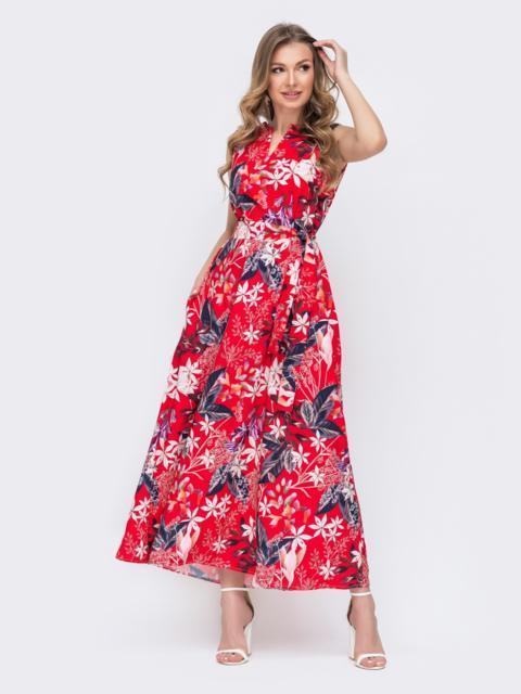 Красное платье свободного кроя с цветочным принтом 47052, фото 1