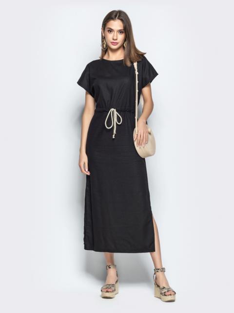 Льняное платье чёрного цвета с кулиской по талии - 21899, фото 1 – интернет-магазин Dressa