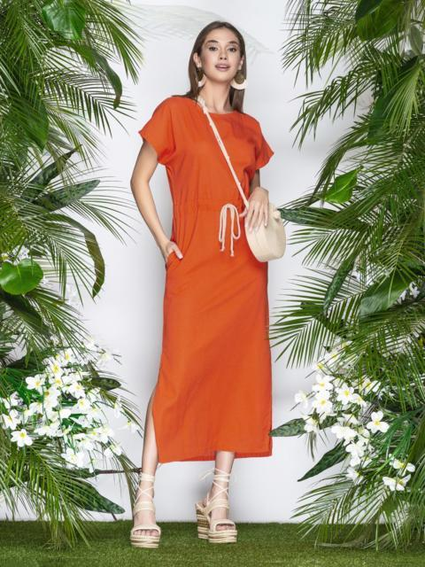 Льняное платье оранжевого цвета с кулиской по талии - 21898, фото 1 – интернет-магазин Dressa