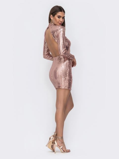 Платье-мини с пайетками и открытой спиной розовое - 43008, фото 1 – интернет-магазин Dressa
