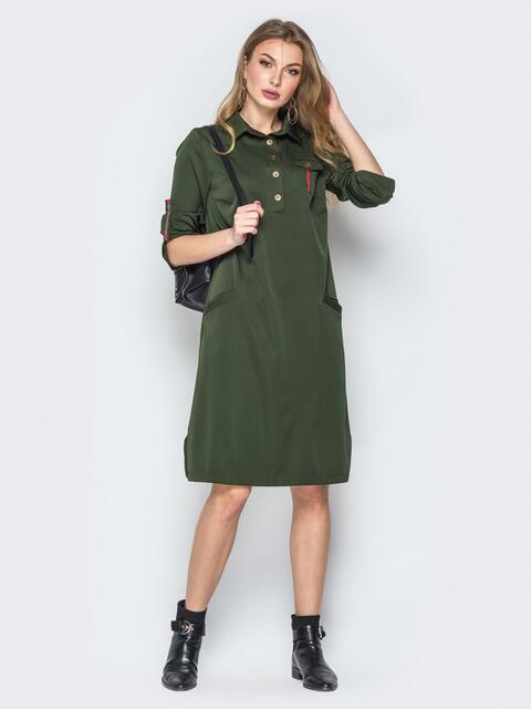 Платье-рубашка цвета хаки с пуговицами на планке - 19539, фото 1 – интернет-магазин Dressa
