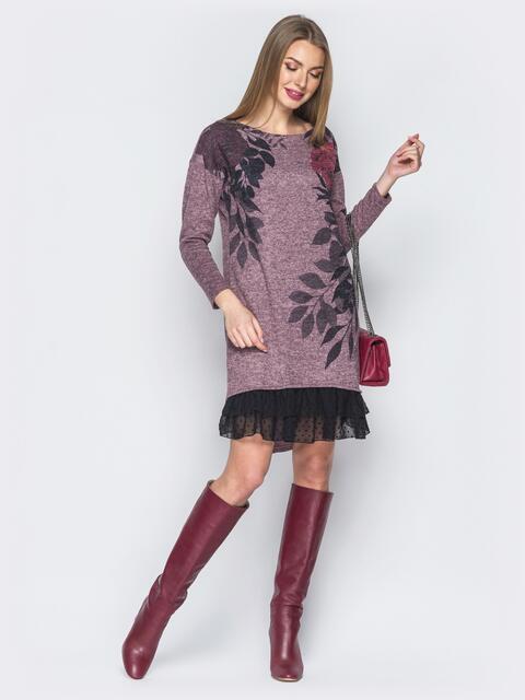 """Пудровое платье из трикотажа """"ангора"""" с принтом - 18790, фото 1 – интернет-магазин Dressa"""