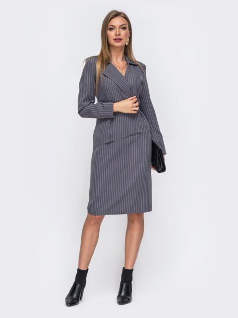 Серое платье-пиджак в полоску из костюмной ткани 50824, фото 1