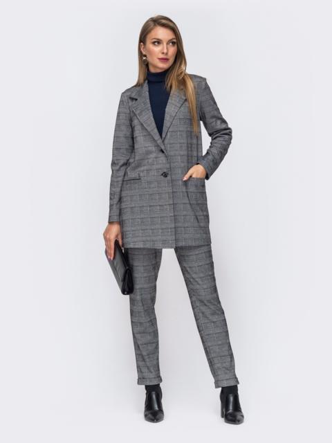 Серый костюм-двойка с брюками и пиджаком в клетку 50845, фото 1