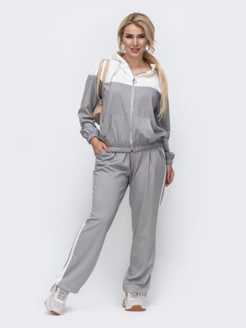 Серый спортивный костюм батал из кофты и брюк 50915, фото 1