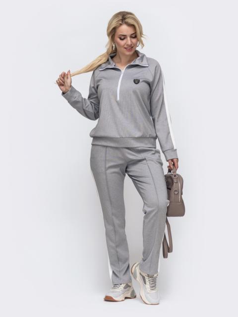 Спортивный костюм большого размера с брюками серый 50918, фото 1