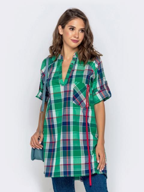 Свободная рубашка в клетку зеленого цвета 40837, фото 1