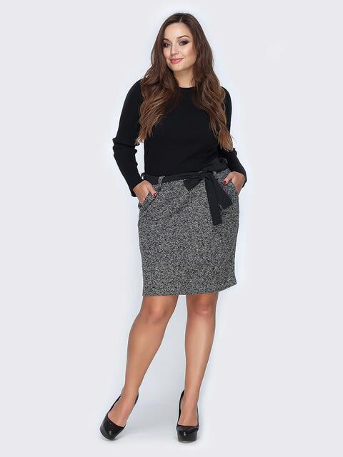 Юбка серого цвета из букле с поясом - 19136, фото 1 – интернет-магазин Dressa