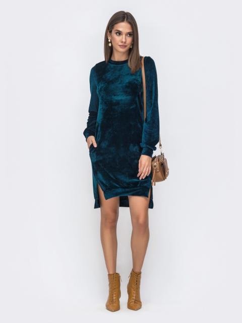 Зеленое велюровое платье с карманами - 41421, фото 1 – интернет-магазин Dressa