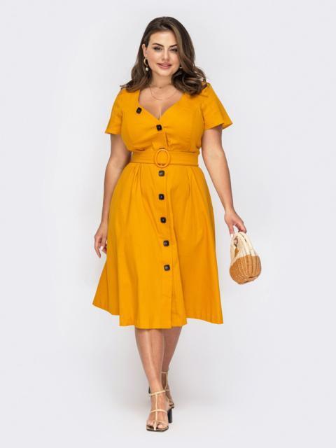Желтое платье из льна с фигурным вырезом 53934, фото 1