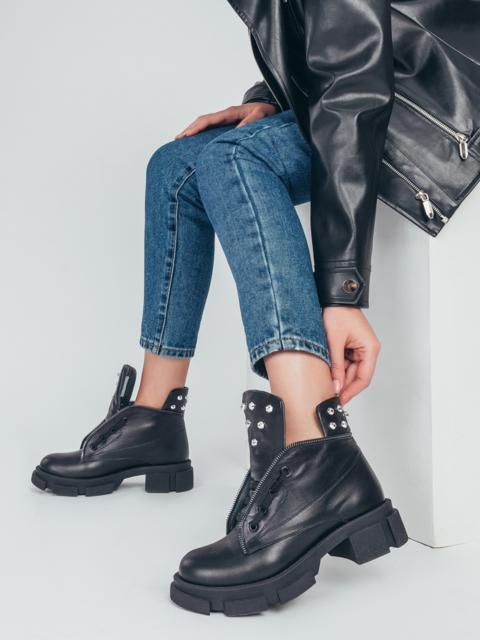 Ботинки из натуральной кожи на массивной подошве чёрные 50476, фото 1