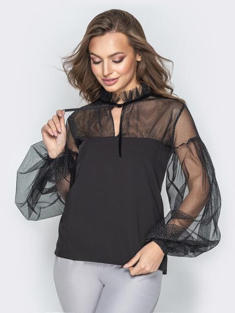 Чёрная блузка с объемными рукавами и кокеткой из сетки - 20877, фото 1 – интернет-магазин Dressa