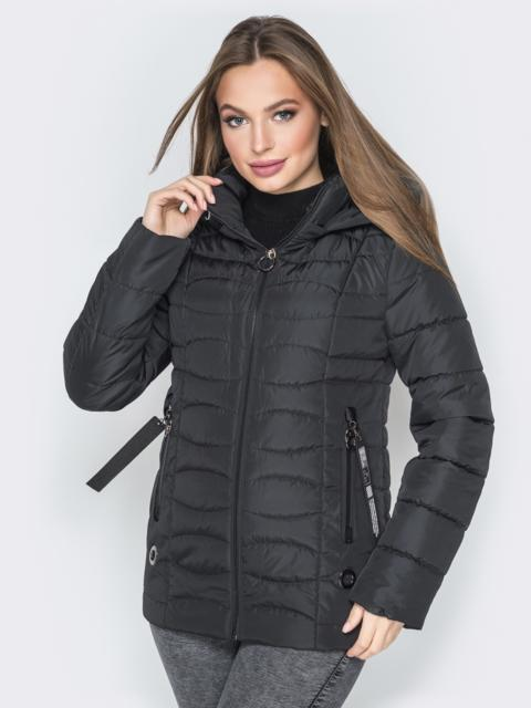 Чёрная куртка с воротником-стойкой и съёмным капюшоном - 20294, фото 1 – интернет-магазин Dressa