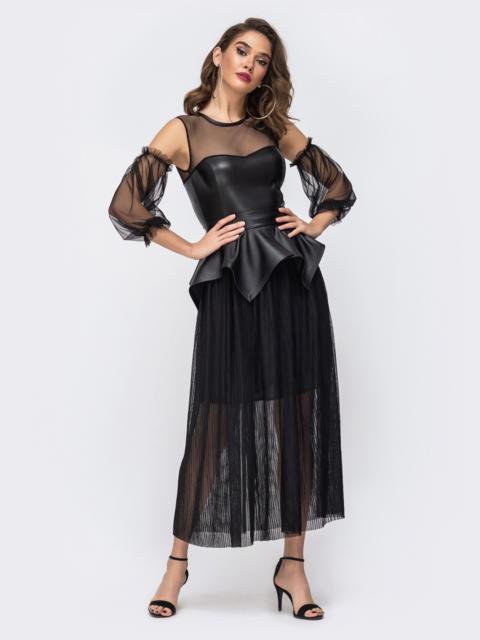 Чёрное платье с баской и лифом из эко-кожи - 43058, фото 1 – интернет-магазин Dressa
