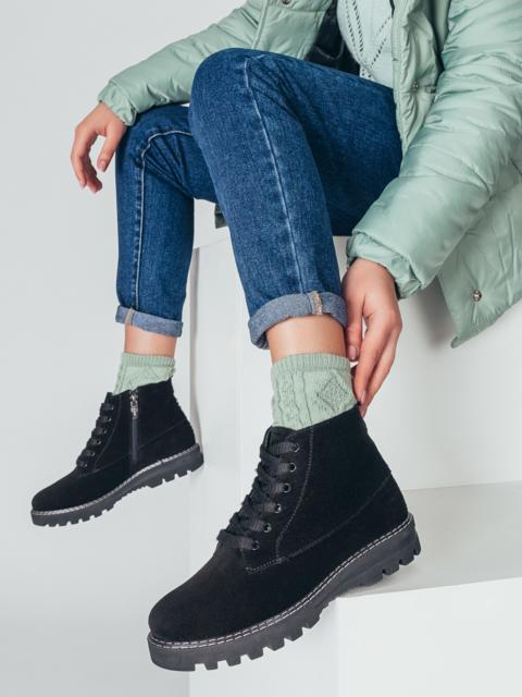 Демисезонные ботинки из натуральной замши чёрные 50475, фото 1