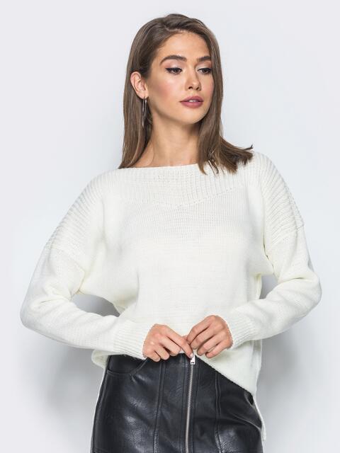 Джемпер с удлиненной спинкой и спущенным плечом белый - 13110, фото 3 – интернет-магазин Dressa
