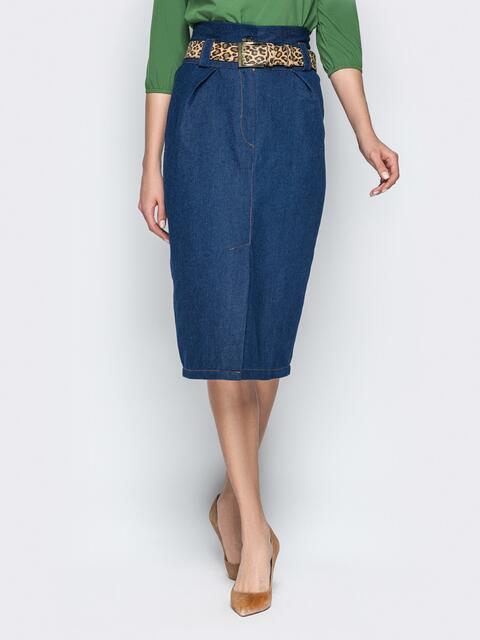 Джинсовая юбка-миди с высокой талией синяя 20896, фото 1