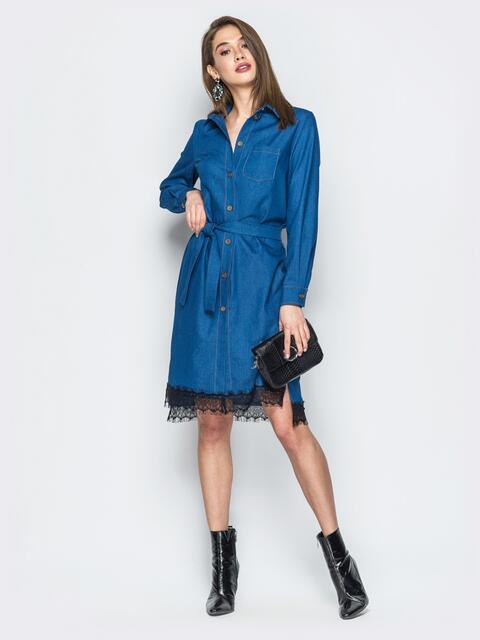 Джинсовое платье-рубашка синего цвета - 18757, фото 1 – интернет-магазин Dressa
