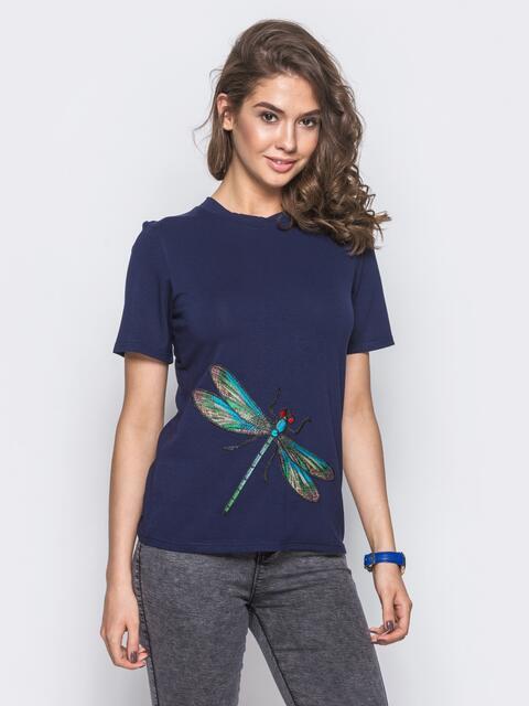 Футболка из вискозы прямого кроя с вышивкой на полочке синяя - 12089, фото 1 – интернет-магазин Dressa