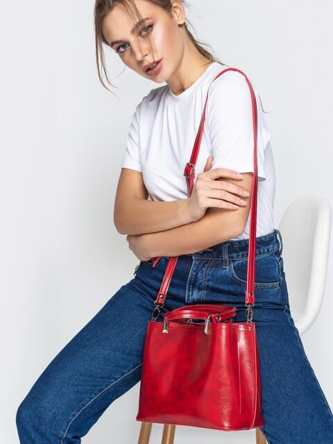 Красная сумка-тоут из эко-кожи с ремешком - 20522, фото 1 – интернет-магазин Dressa