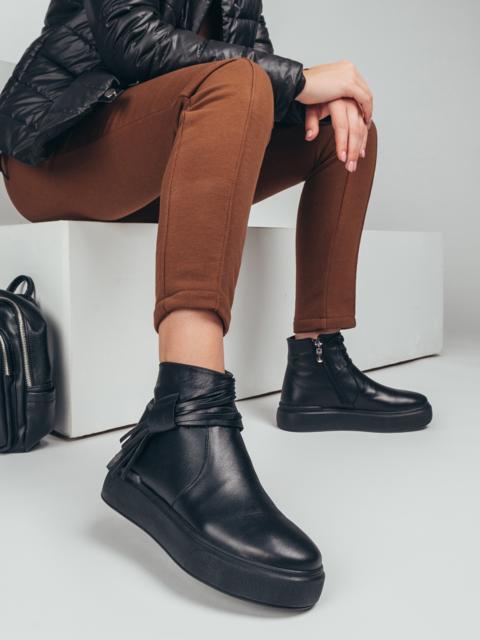 Осенние ботинки из натуральной кожи чёрные 50474, фото 1