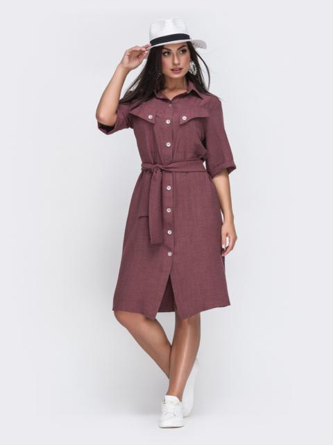 Платье-рубашка большого размера бордовое 49668, фото 1