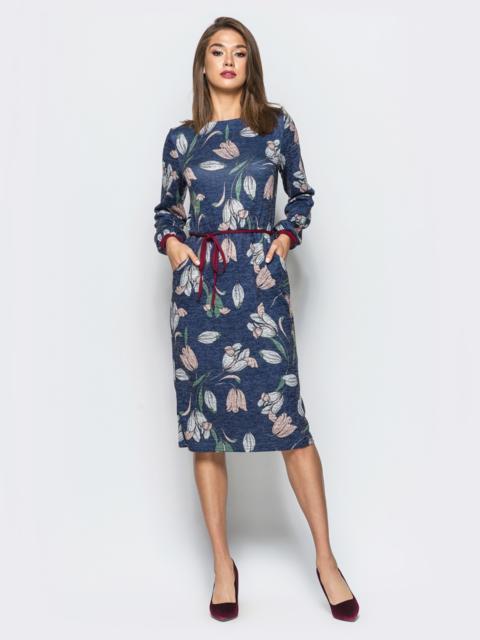Платье с цветочным принтом и поясом на резинке синее - 16919, фото 1 – интернет-магазин Dressa