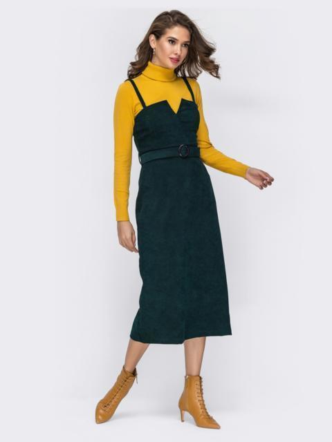 Сарафан из вельвета с фигурным вырезом зеленый - 42003, фото 1 – интернет-магазин Dressa