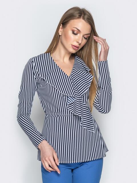 Синяя блузка в полоску с запахом и воланом - 21142, фото 1 – интернет-магазин Dressa