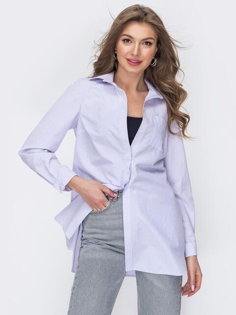 Удлиненная рубашка из хлопка в сиреневую полоску 53571, фото 1