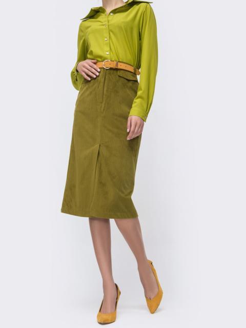 Вельветовая юбка с высоким разрезом спереди зелёная 44901, фото 1