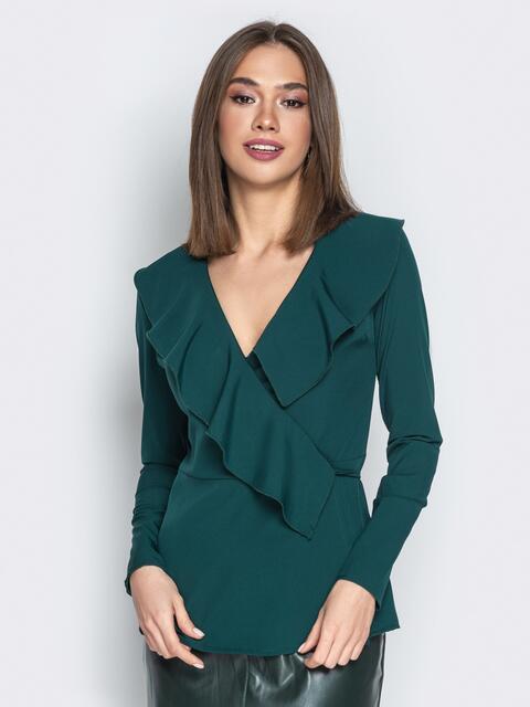 Зелёная блузка с запахом и воланом по вырезу - 21141, фото 1 – интернет-магазин Dressa