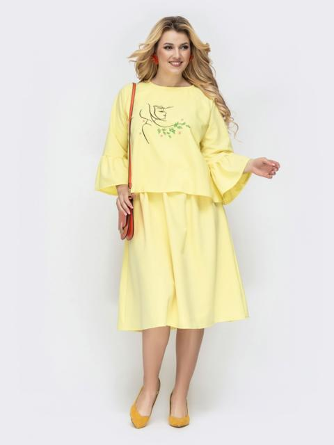 Желтое платье батал с вышивкой и резинкой по талии 45184, фото 1