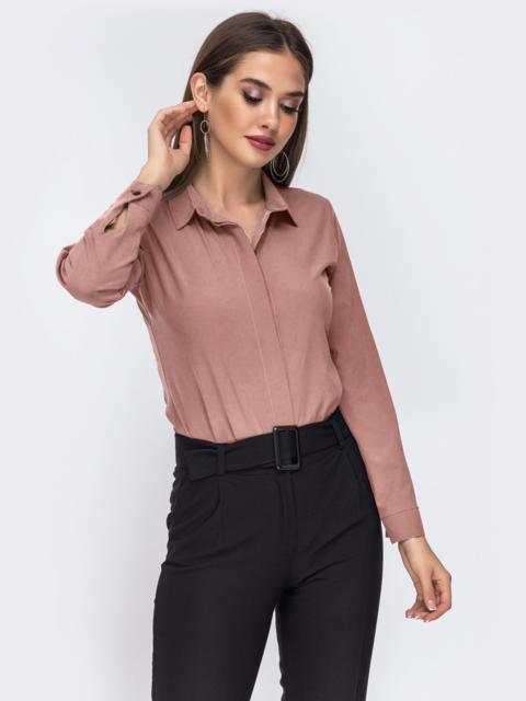 Блузка бежевого цвета со шлевками на рукавах 50925, фото 1