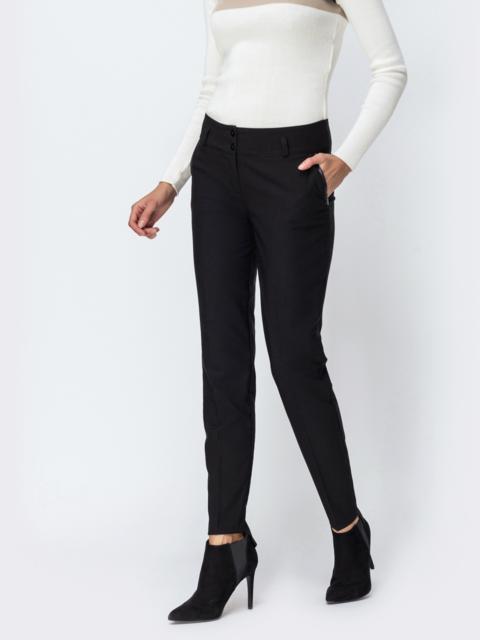 Чёрные брюки на флисе с отстроченными стрелками - 42354, фото 1 – интернет-магазин Dressa