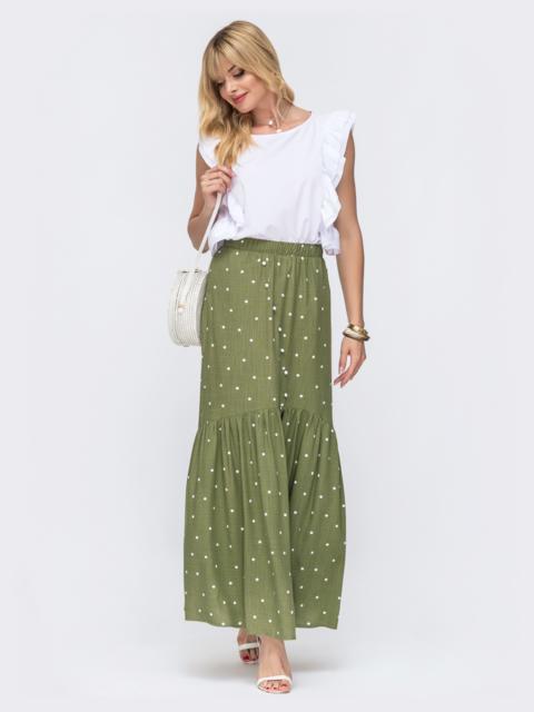 Комплект из блузки и длинной юбки цвета хаки в горох - 49329, фото 1 – интернет-магазин Dressa